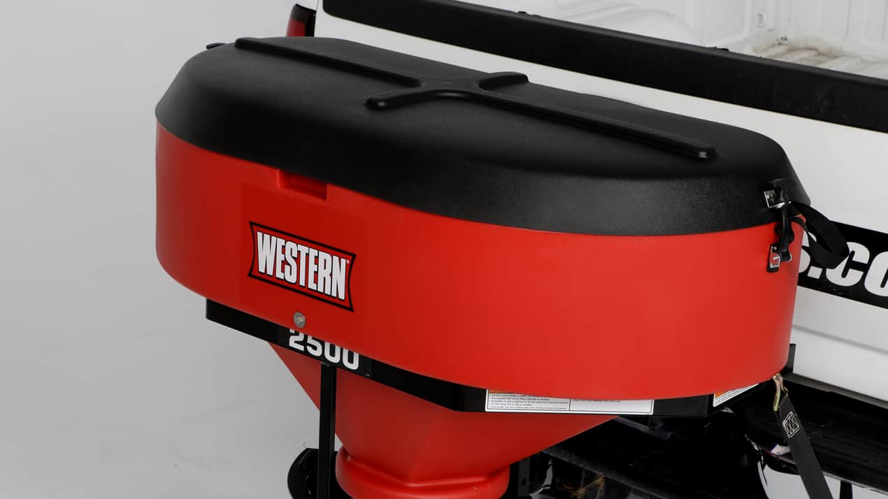 Get a clear view of your work with the WESTERN® Low Profile tailgate spreader.